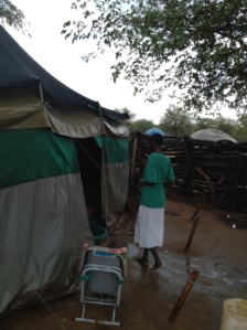 Kaputu outside the tent