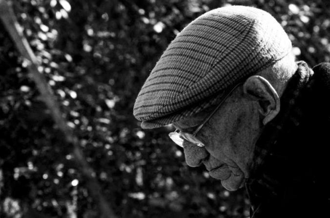Elderly Man in Hat - Black and White